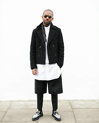Martell Campbell - Underground Leopard Creeper Shoes, The Kooples Trousers, Acne Studios Bermuda Shorts, Le. Gnauhc Long Shirt, Yohji Yamamoto Eyewear - Black & White (No Hat)