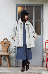 Ping Chiu Armando - Gray Faux Fur Jacket, Navy Doted Dress, Monki Black Hat - Faux Fur Jacket