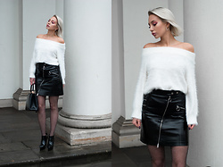 MONIKA S - Yoins White Fluffy Swater, High Waist Patent Leather Skirt, Fishnet Tights With Silver Thread, Bag, High Heels - PORCELAIN