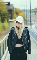 Sarah Spe - Asos Cap, Zara Leather Jacket, Urban Outfitters Harems Trouser - SASSY