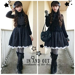 Yumi E.G. - Baby The Stars Shine Bright Coco Jacket, Angelic Pretty Heart Bag, Axes Femme Boots - Like otome