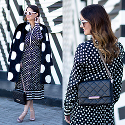 Jenn Lake - Kate Spade Polka Dot Faux Fur Coat, Kate Spade Polka Dot Silk Blouse, Kate Spade Polka Dot Pleated Silk Skirt, Kate Spade Emerson Place Lenia Quilted Chain Flap Bag, Kate Spade Rose Gold Glitter Heels, Celine White Marta Sunglasses, Baublebar White Crispin Earrings - Black and White Polka Dot Coat