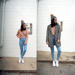 Sheila - Forever 21 Gray Coat, Boohoo Pink Sweater, Asos High Waist Jeans, Nike White Sneakers - Casual Winter Outfit