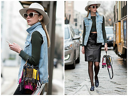 Anastasiia Masiutkina - Rag & Bone Hat, Fendi Sunglasses, Topshop Top, Topshop Denim Jacket, Topshop Leather Skirt, Saint Laurent Bag - One day in Milan during Fashion Week!
