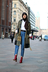 Paz Halabi Rodriguez - Vipme Color Block Coat, H&M Ruffle Shirt, Zara Circle Leather Belt, H&M Double Denim High Waisted Pants, Zara Red Boots - Time for Coats