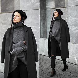 CLAUDIA Holynights - Jollychic Coat, Stylewe Turtleneck Sweater, 4th And Reckless Boots, Daniel Wellington Watch - Winter grey's
