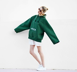 Ebba Zingmark - Ader Error Hoodie, Nike Sneakers, Junkyard Xx Xy Dress, Zerouv Sunnies - FOR WHAT IT'S WORTH