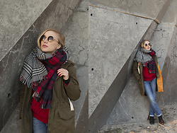 Ewa Michalik - H&M Jacket, Top Secret Scarf, Zaful Sweater, Topman Jeans, Venezia Shoes - Octagon frames