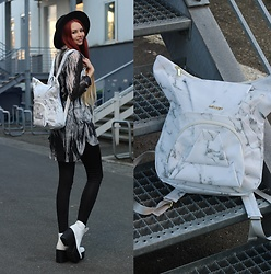 Liza LaBoheme - Marble Origami Backpack, Vagabond Platform Boots - Marble on marble