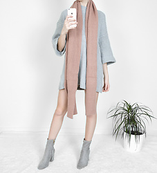 Tia Mcintosh - Romwe Grey Sweater Dress, Romwe Mauve Scarf, Missguided Grey Ankle Boots - Favorite knits
