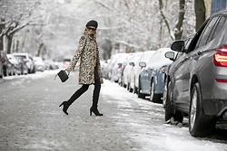 Lauren Recchia - Stella Mccartney Beret, Alice + Olivia Leopard Coat, Rebecca Minkoff Black Bag, Stuart Weitzman Over The Knee Boots - Leather and Leopard