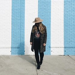 Britnie Harlow - Lack Of Color Fedora, Junk Food Grateful Dead T Shirt, Topshop Leopard Coat, Dolce Vita Ankle Boot - Candy striper
