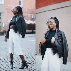 Nkenge Brown - Forever 21 Bell Sleeve Top, Mackage Leather Jacket, Quay Sunglasses, Thrifted Pleated Culottes - Let's Talk Bell Sleeves