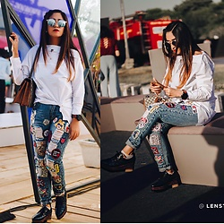 Surbhi Suri - White Shirt, Denims, Zaful Platforms, Gucci Bag, Fossil Smartwatch - Patches everywhere