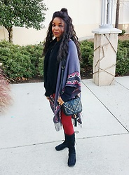 KaSonndra L. - Charlotte Russe Aztec Border Fringed Cardigan Shawl, Charlotte Russe Push Up Loe Rise Leggings - Red Hot Chili Pepper