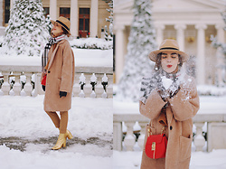 Andreea Birsan - Camel Coat, Frilled Turleneck Sweater, Red Crossbody Bag, Gold Metallic Leather Ankle Boots, Camel Trousers, Check Scarf, Camel Fedora Hat, Hoop Earrings - The camel coat you need this winter II
