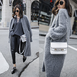 Jenny Tsang - Bytsang Fuzzy Cardigan Coat - Why Grey