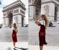 Silver Girl - Gucci Red Shoulder Bag, Zara Red Velvet Dress, Asos White Sneakers, River Island Golden Tiara, Pretty Little Thing White T Shirt, Lucky Brand Golden Bracelet - RED VELVET IN CHAMPS-ÉLYSÉES
