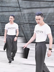 Andy Yanata - Hm X Balmain Tees, Kle Curved Pants, Balenciaga Clutch, Zara Slip On Shoes, Jewel Rocks Bali Handmade Bracelet - Basic