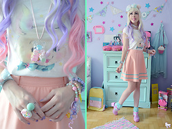 Luly Pastel Cubes - Cuplover Skirt, Follow The White Rabbit Bear, Lockshop Wig, Maniaq Top, Pokkuru Bubblegum, Follow The White Rabbit Candy - Pink bunny