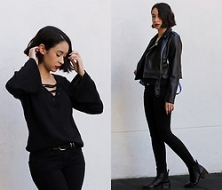 Esther L. - Chicme Black Bell Sleeve Sweater, Missguided Leather Jacket, H&M Black Skinny Jeans, Missguided Pointed Ankle Boots - A TOUCH OF COLOR