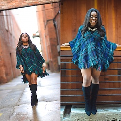 Christian Riley - Vintage Plaid Poncho, Bcbg Generation Black Boots, Aldo Statement Necklace - Plaid Plans