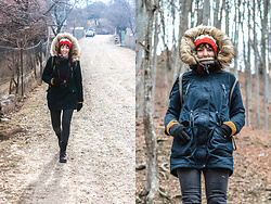 Lea P - Bershka Dark Blue Parka, Stretchy Denim, Barts Fleece Cap, H&M Knit Sweater, Leather Army Boots - Rugged rural