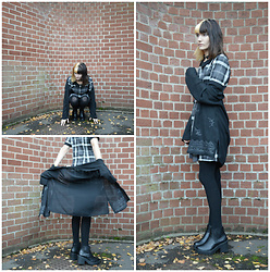 Amy K - Dress, Mesh Patterned Cardigan, Black Boots, Black Cotton Tights - Symmetrical Fall
