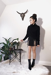 Christie Ashley - Babaton Mika Sweater, Lace Up Skirt, Aldo Sock Boots - LACE UP SKIRT