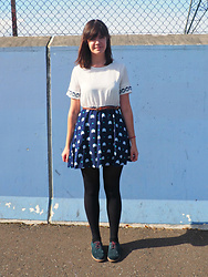 Charley Ellis - Dealsale Kitty Skater Dress, Clarks Fringed Blue Suede Brogues - Upside Down Kitty