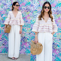 Jenn Lake - Mara Hoffman Stripe Flare Top, Nordstrom White Wide Leg Pants, Cult Gaia Ark Bag, Kate Spade Glitter Heels, Urban Outfitters Round Tortoise Sunglasses, Baublebar Crispin Drop Earrings - Mara Hoffman Stripe Flare Top