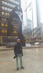 Thomas G - Levi's 510 Strauss & Co, Old Navy Coat, Gap Cap, Rossmor Ind., Inc. Chicago White Sox, Skechers On The Go, Brolly Time Umbrella - Daley Center Plaza - Picasso