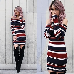 Catherine pham - Public Desire Black Boots, Kendall+Kylie Striped Bardot Dress - Dark candy striper