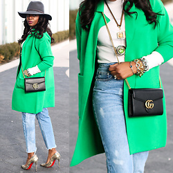 Monica Awe-Etuk - Sweater Coat, Wallet On A Chain, High Waist Jeans, Grey Fedora - AWED BY MONICA: A COAT OF GREEN