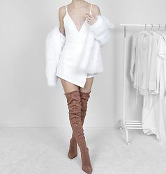 Tia Mcintosh - Amiclubwear Bronze Glitter Boots, Michael Kors White Fur Coat, Missguided White Playsuit - Glam Look