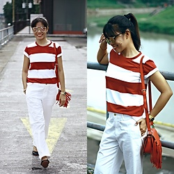 Jenniya Yah - Sammydress Red & White Stripes T Shirt, Sammydress Crossbody Bag Tassels Design - Get Stripey with Sammydress