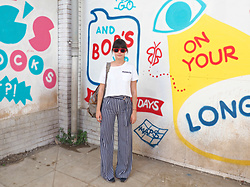 Charley Ellis - Forever 21 Snoopy & Peanut Crop Top, Asos Striped Wide Leg Trousers - Dismaland