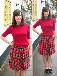Charley Ellis - Vintage Tartan Wool Skirt, Kurt Geiger Black Loafers - The Owls Are Not What They Seem