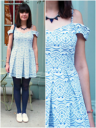 Charley Ellis - Cleo & Coco Bardot Dress, New Look Triangle Blue Necklace, Matalan White Brogues - Black Mass