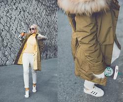 Olga Choi - Styled Moscow Khaki Parka, Styled Moscow Coffee Iphone Case, Adidas Sneakers - Yolk