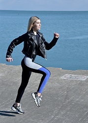 Dani Mikaela McGowan - Zara Workout Jumpsuit, Skechers Gym Shoes, Who What Wear Leather Moto Jacket - Get Fit