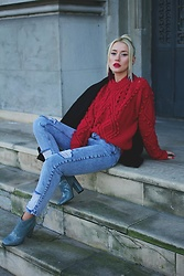 Sinziana Maria Iacob - Zaful Sweater, Pull & Bear Jeans, Garkony Boots - Cherry Pie