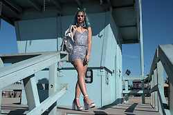 Sophie Hannah Richardson - Glamorous Sequin Coord, Prettylittlething Metallic Heels, Glamorous Silver Jacket - Sequins on Venice Beach