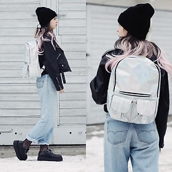 Ola Brzeska - Gamiss Holo Backpack, Marks & Spencer Mom Jeans, Altercore Leather Creepers, Second Hand Leather Jacket, Cameron Hair Pastel Wig - Pastel Queen