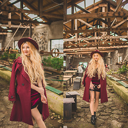♡Anita Kurkach♡ - Yoins Dress, Dressystar Coat, Rose Wholesale Bag - BURGUNDY!