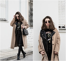 Theoni Argyropoulou - Stradivarius Camel Coat, Pull & Bear Leather Jacket, Band T Shirt, Bershka Skinny Jeans, Ankle Boots, Zara Shoulder Bag, Round Sunglasses - Fashion trends 2017 on somethingvogue.com