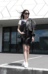 Elvi Chuang - Acne Studios Leather Jacket, Asos Slipdress, Chanel Classic Flap, Adidas White Stan Smith - All the colors I need.