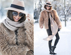 Manuella Lupascu - Miu Sunglasses, Choies Hat, Shopbop Faux Fur Jacket, Etienne Marcel Leather Pants, Jessica Buurman Boots, Dkny Bag - Winter Portrait