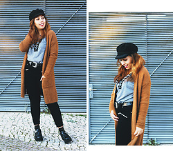 Mafalda M. - Bershka Cozy Camel Cardigan, Chic Me Lace Cross Up Top, Forever 21 Zippered Jeans, Sammydress Double Buckle Belt - WEEKENDS IN THE CITY
