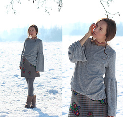 Iva K - Zara Top, Zara Skirt, Tamaris Boots, Zara Necklace - Gray